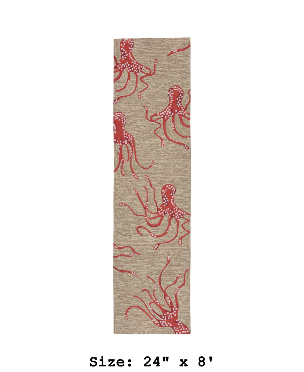 Coral Capri Octopus Indoor/Outdoor Rug - Runner