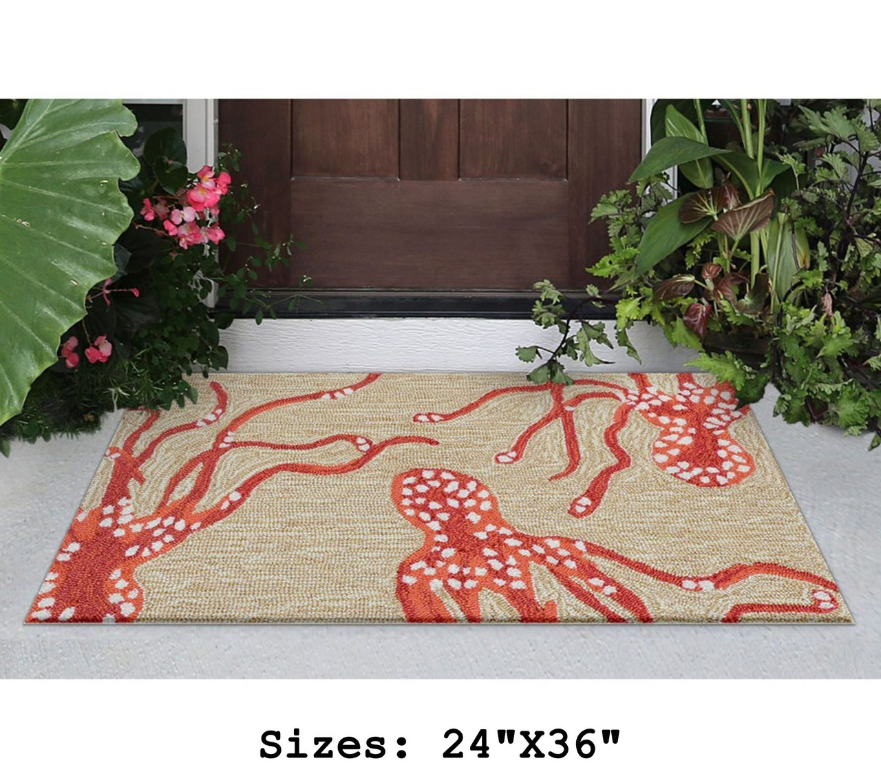 Coral Capri Octopus Indoor/Outdoor Rug - Small Rectangle Lifestyle