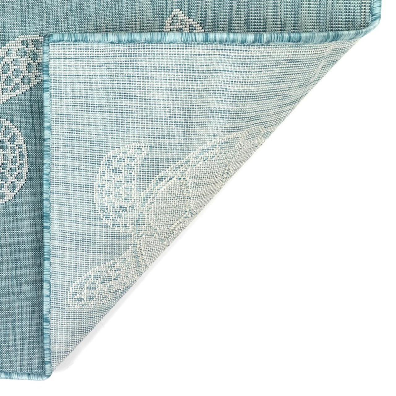 Aqua Carmel Sea Turtles Indoor/Outdoor Rug - Backing