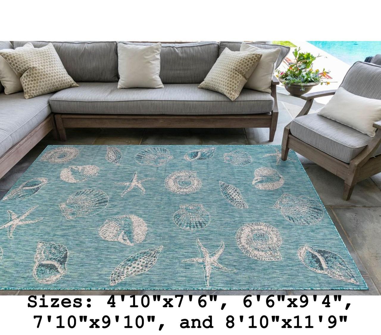 Aqua Carmel Shells Indoor/Outdoor Rug - Rectangle Lifestyle