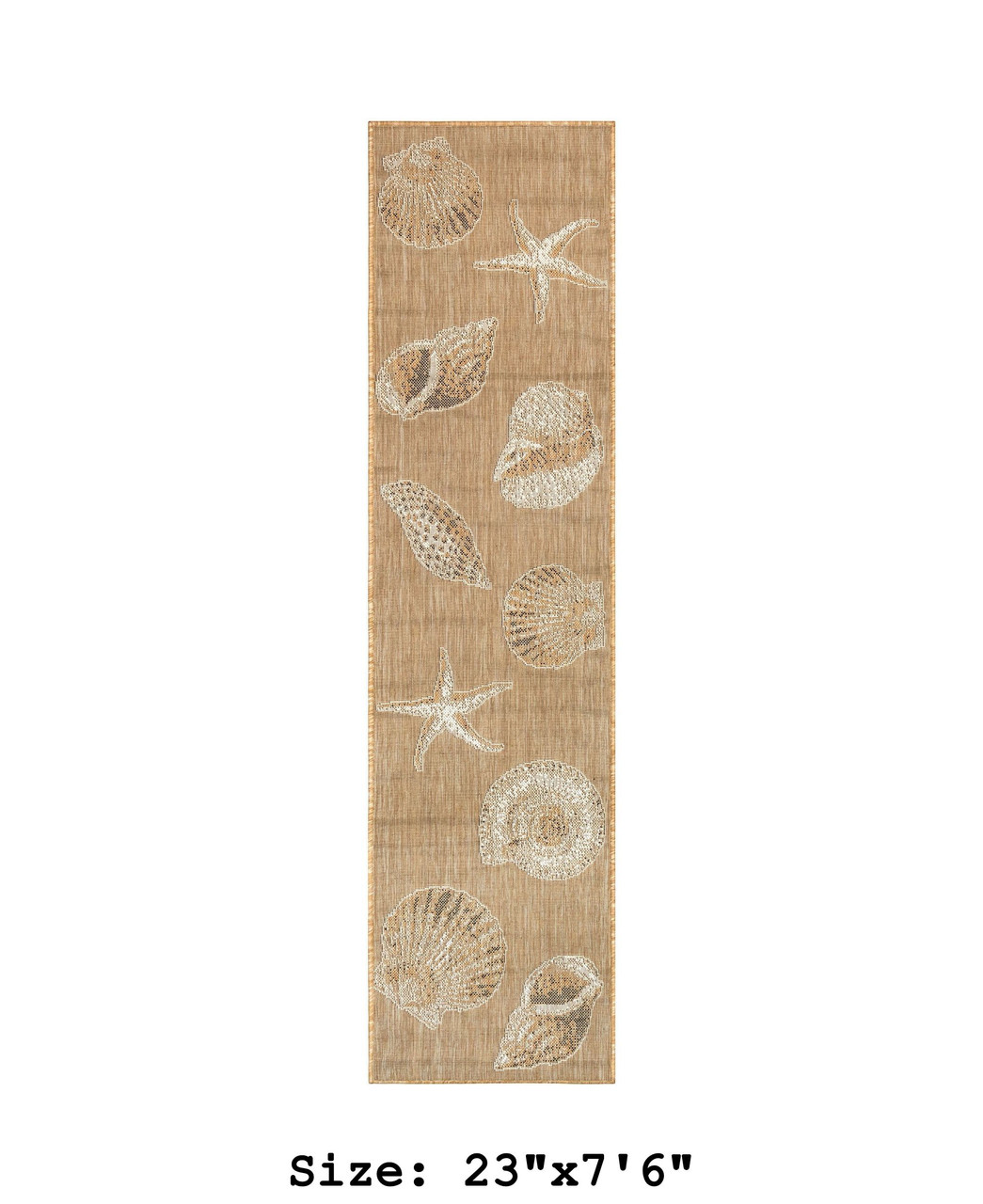 Sand Carmel Shells Indoor/Outdoor Rug -  Runner