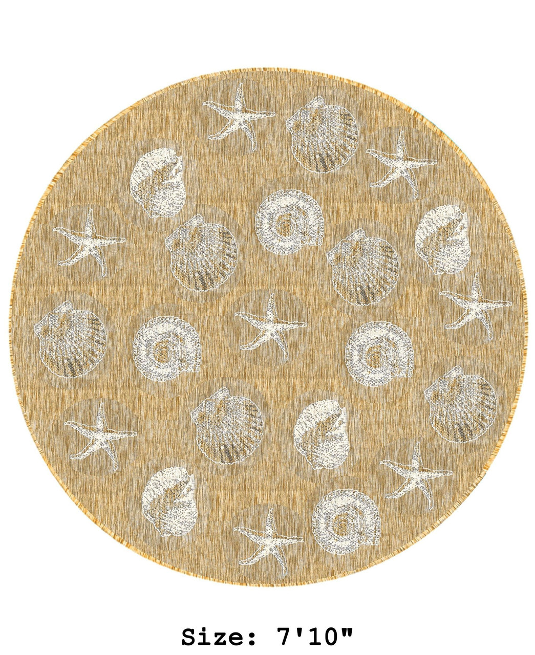 Sand Carmel Shells Indoor/Outdoor Rug -  Round