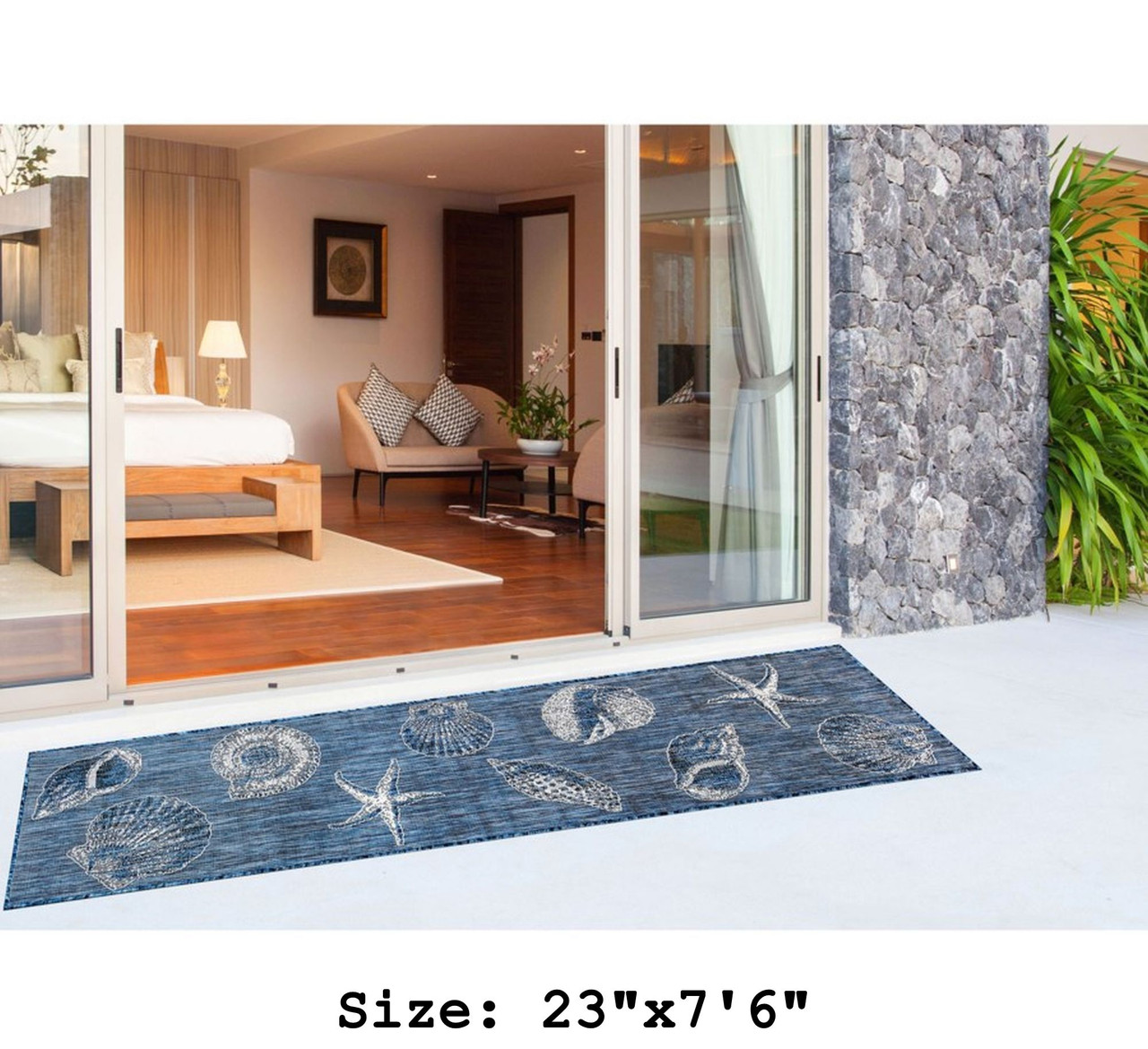 Navy Carmel Shells Indoor/Outdoor Rug -  Runner Lifestyle