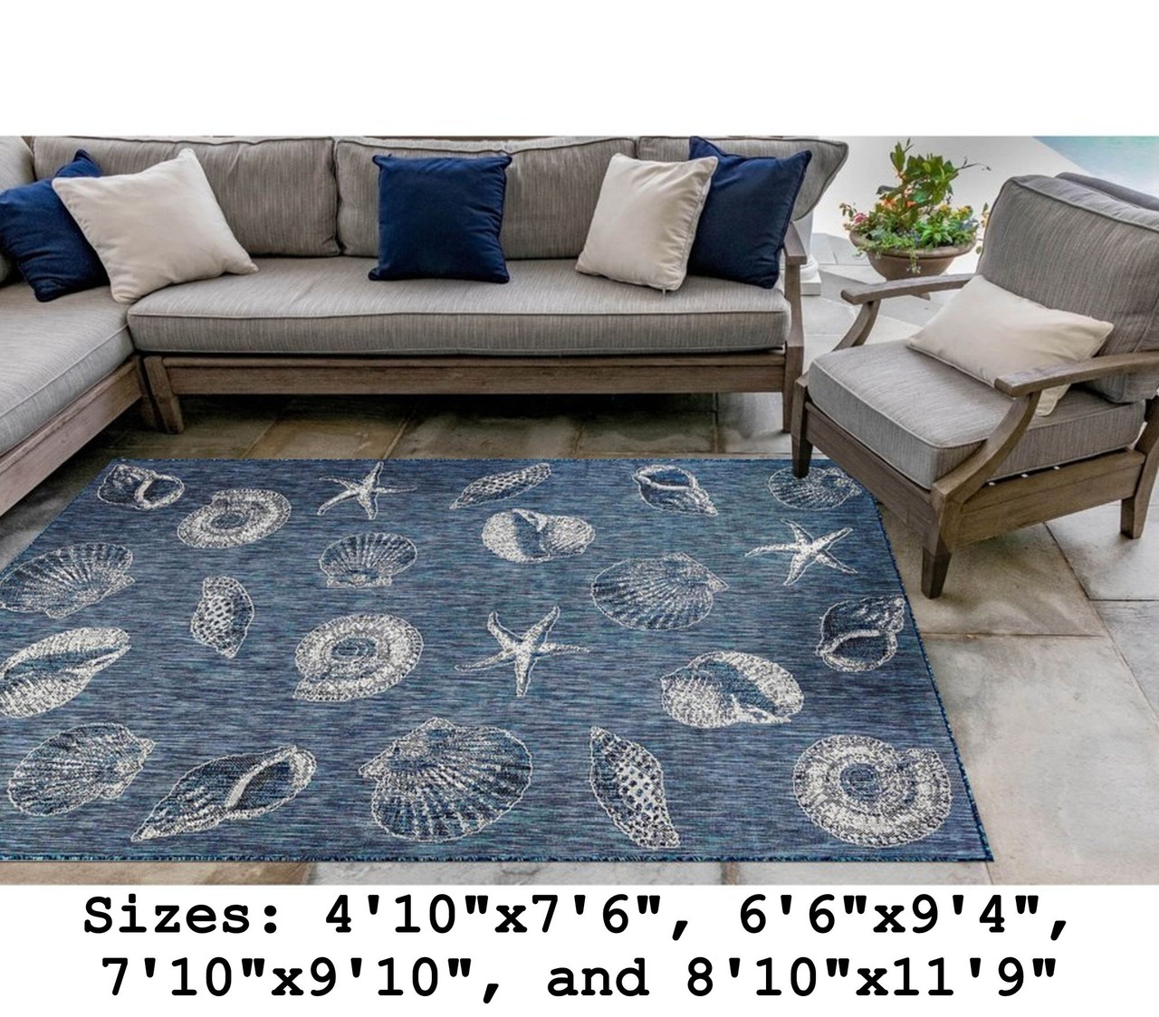 Navy Carmel Shells Indoor/Outdoor Rug -  Rectangle Lifestyle