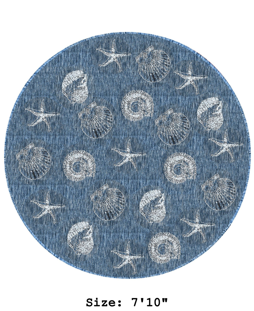 Navy Carmel Shells Indoor/Outdoor Rug -  Round