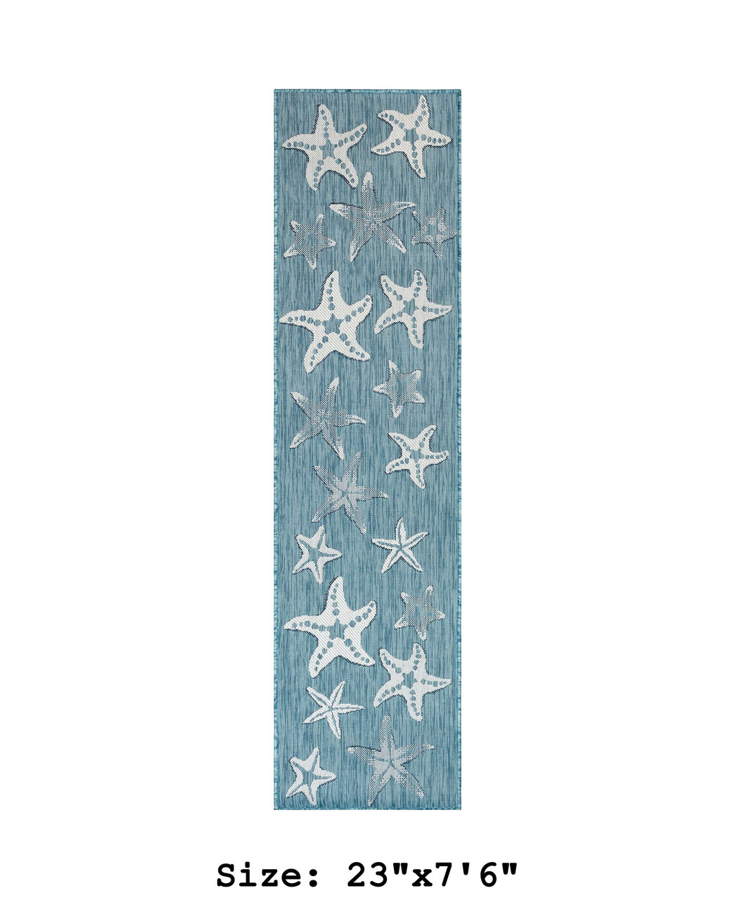 Aqua Carmel Starfish Indoor/Outdoor Rug - Runner