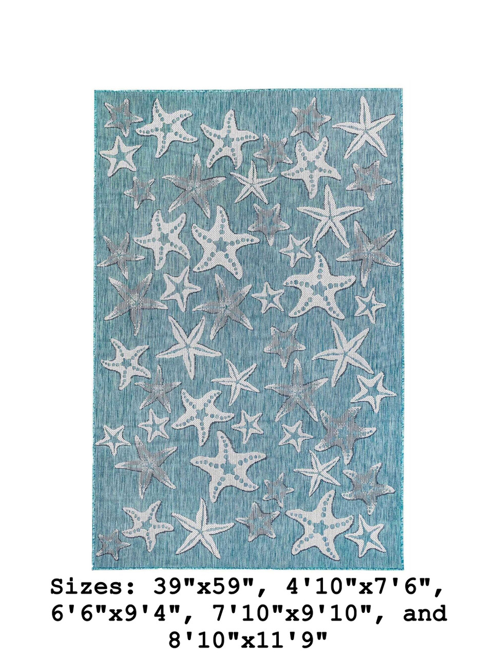 Aqua Carmel Starfish Indoor/Outdoor Rug - Rectangle