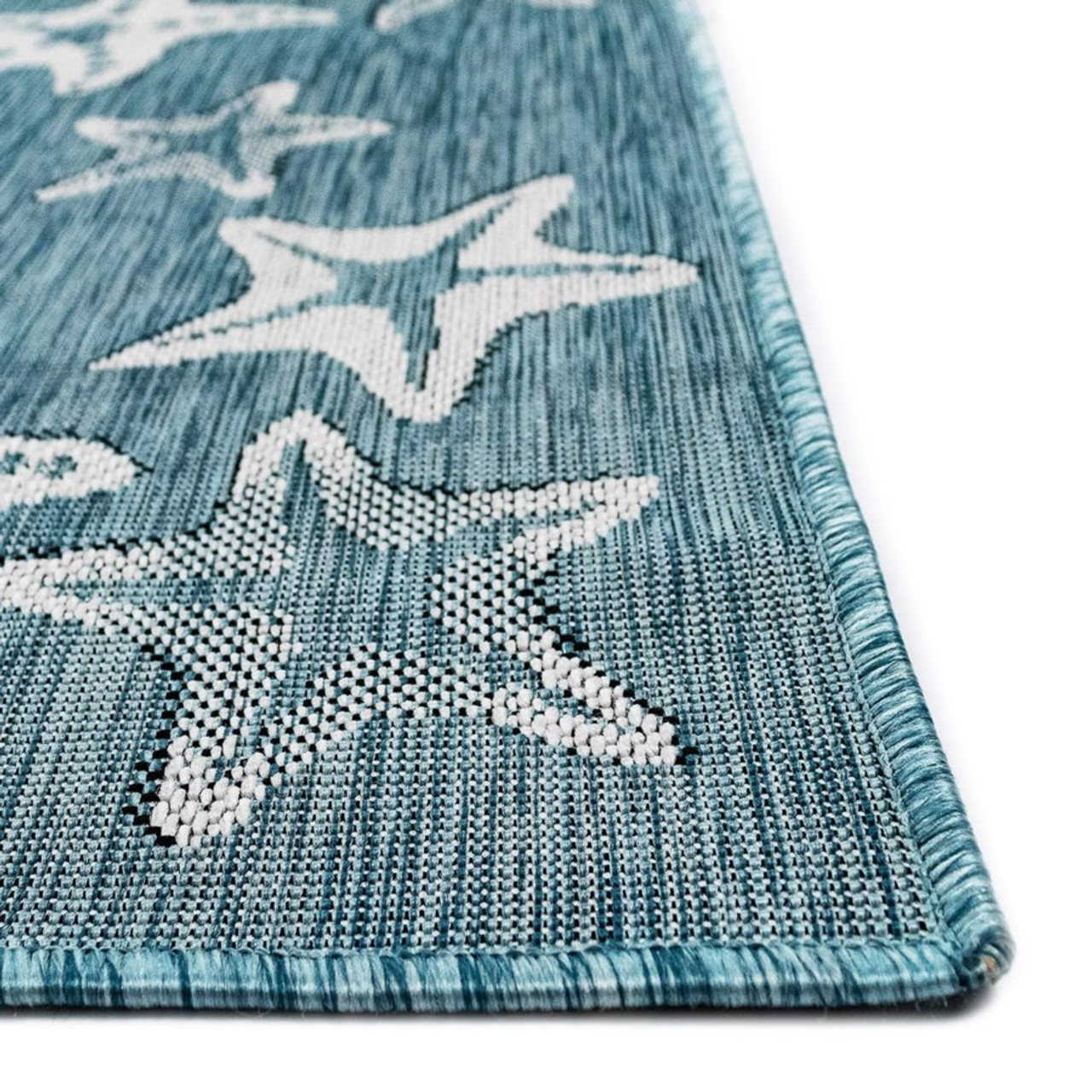 Aqua Carmel Starfish Indoor/Outdoor Rug - Pile