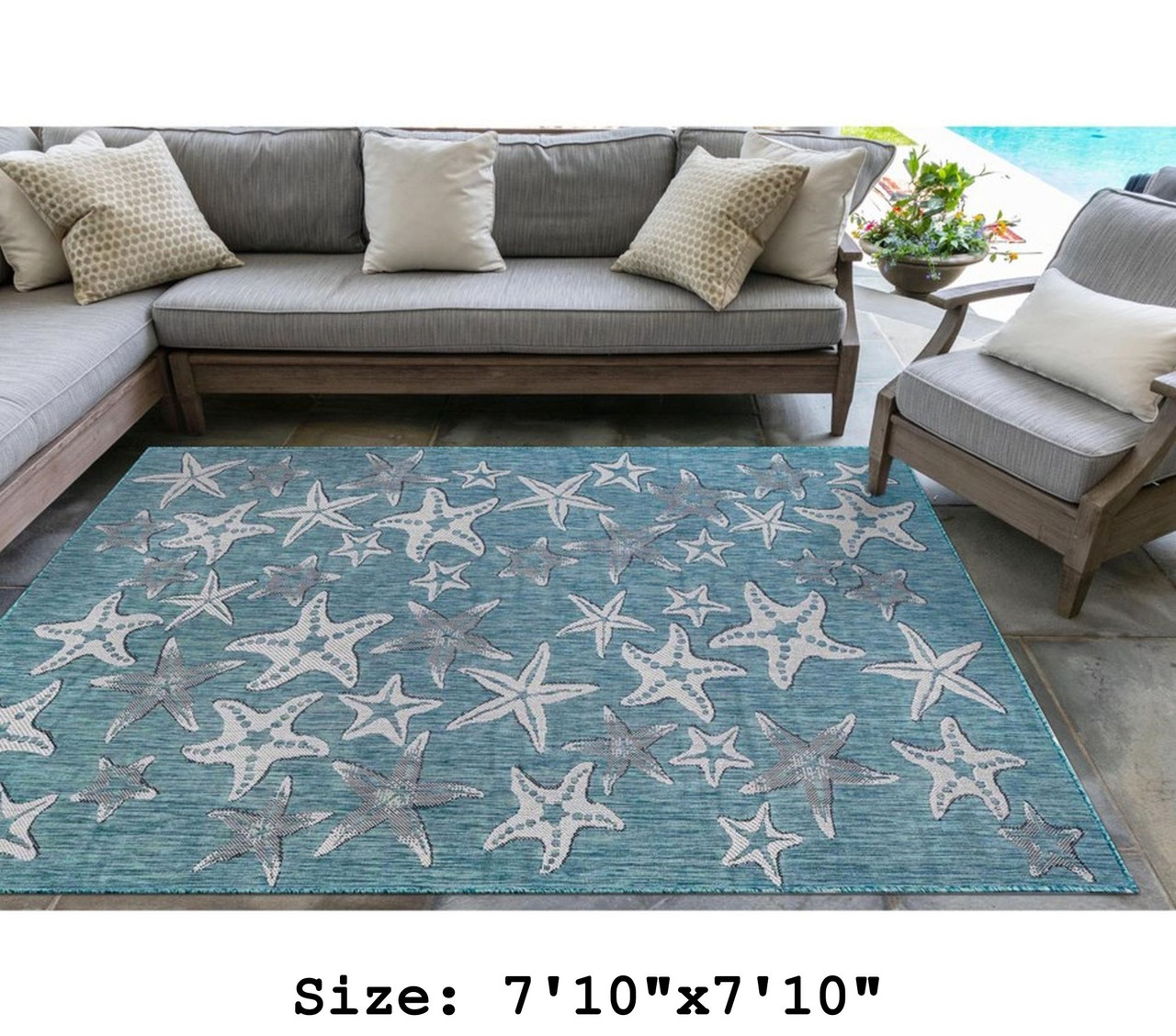 Aqua Carmel Starfish Indoor/Outdoor Rug - Square Lifestyle