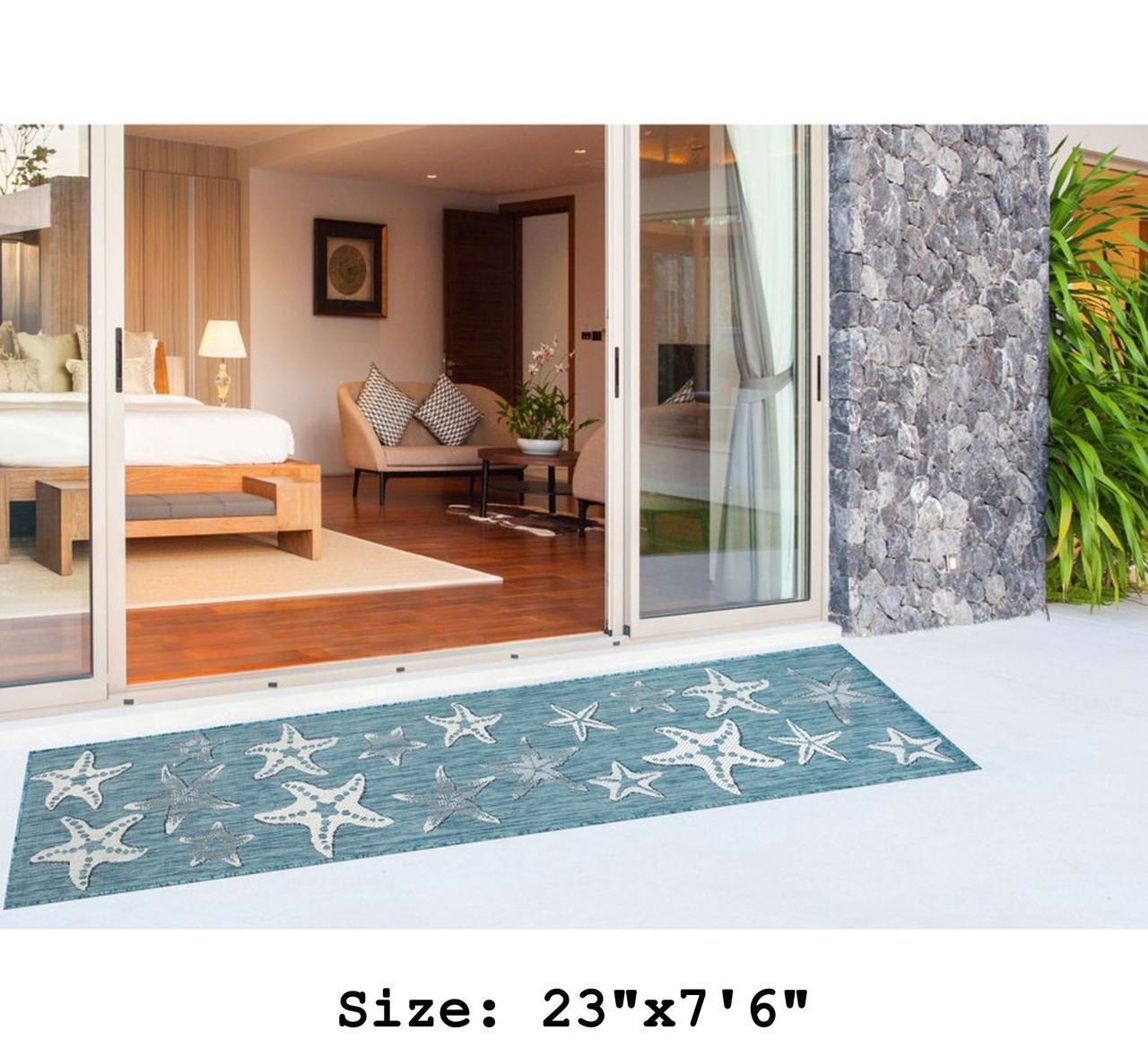 Aqua Carmel Starfish Indoor/Outdoor Rug - Runner Lifestyle