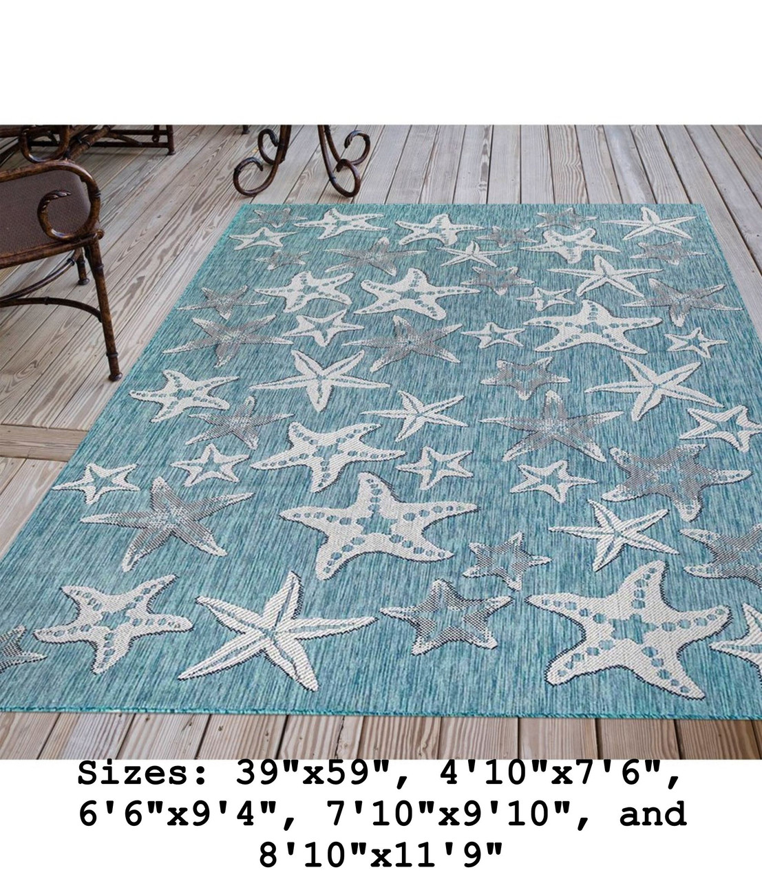 Aqua Carmel Starfish Indoor/Outdoor Rug - Rectangle Lifestyle