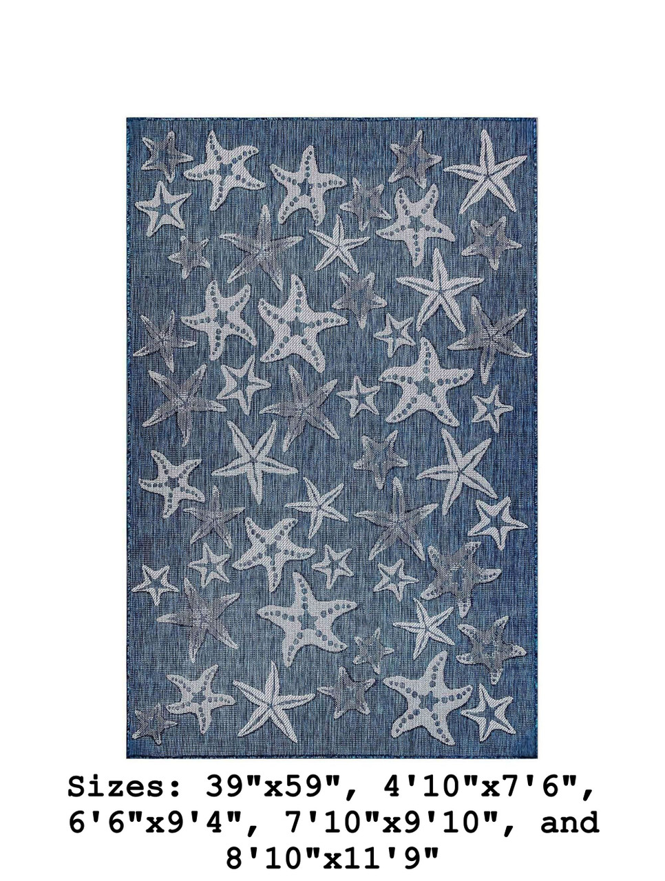 Navy Carmel Starfish Indoor/Outdoor Rug - Rectangle