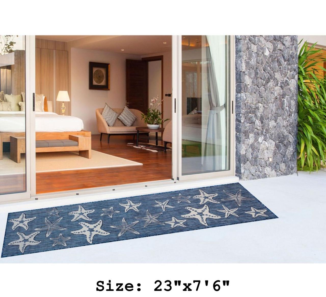 Navy Carmel Starfish Indoor/Outdoor Rug - Runner Lifestyle