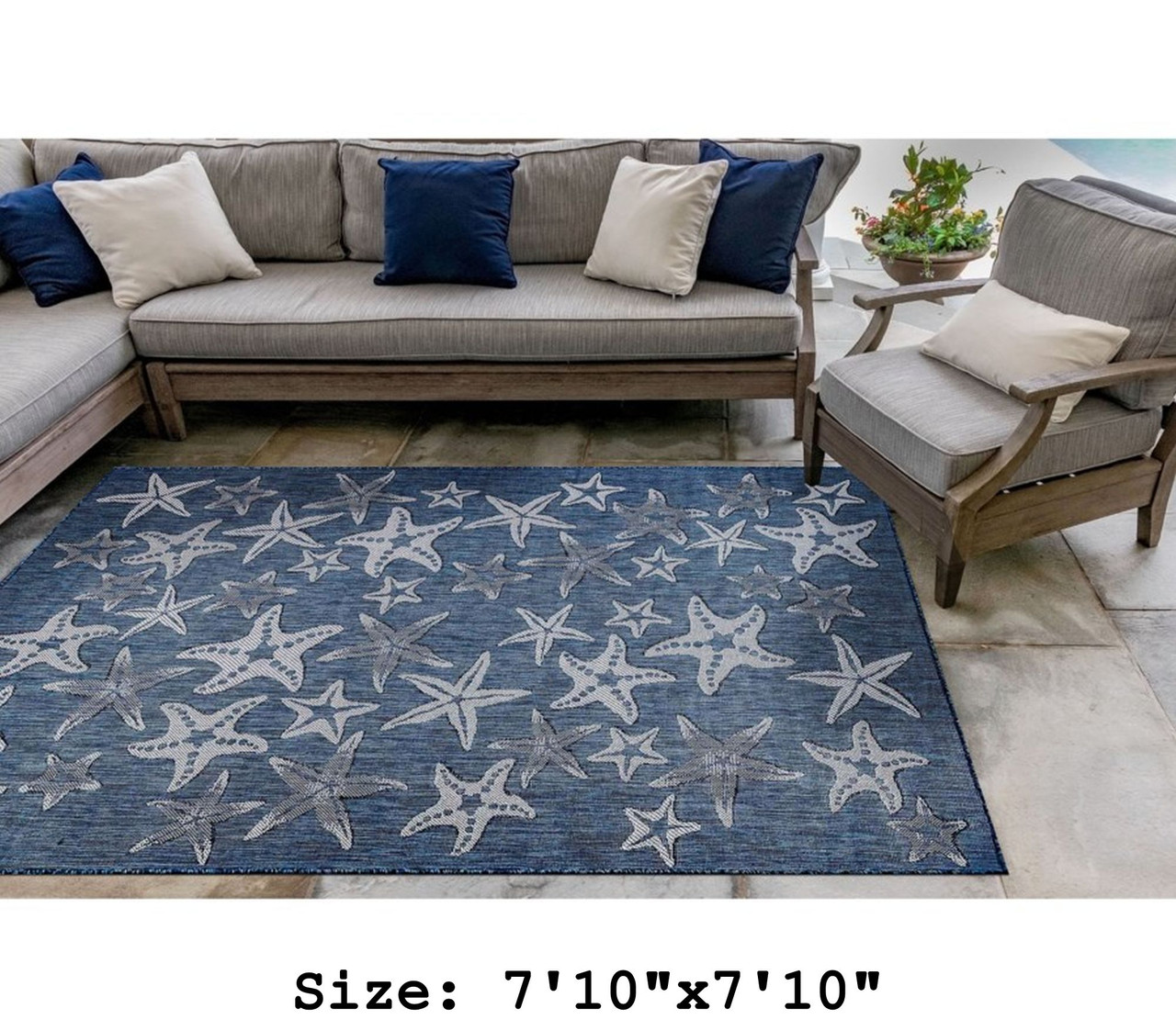 Navy Carmel Starfish Indoor/Outdoor Rug - Square Lifestyle