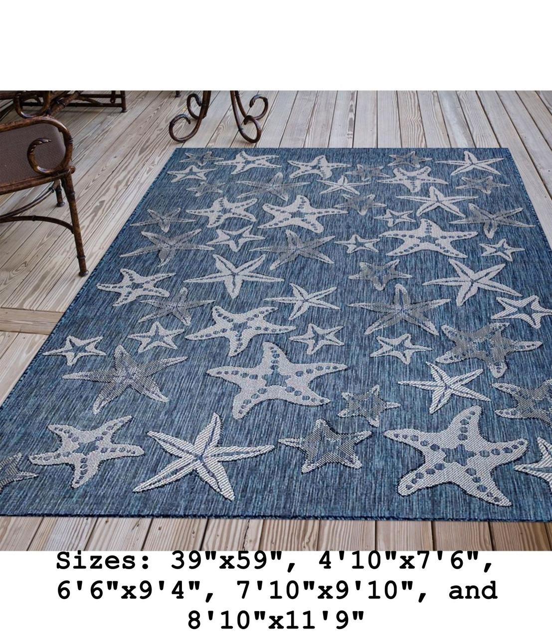 Navy Carmel Starfish Indoor/Outdoor Rug - Rectangle Lifestyle