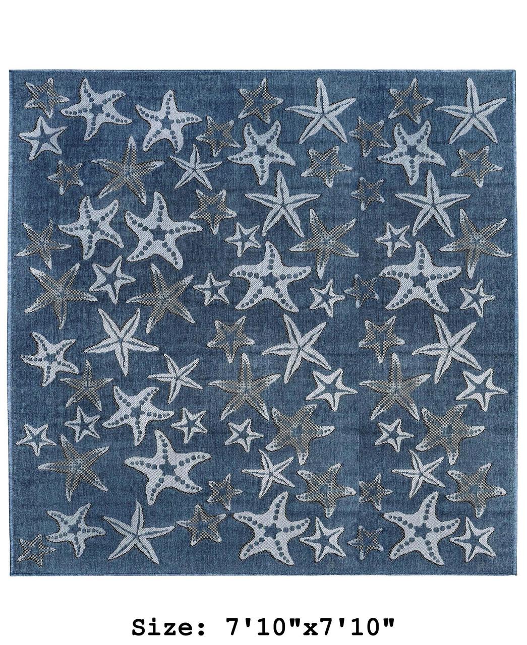 Navy Carmel Starfish Indoor/Outdoor Rug - Square