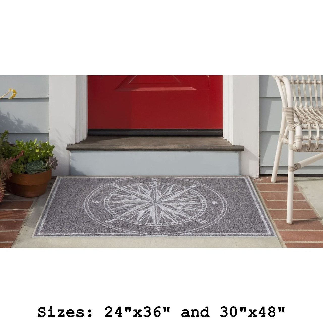 Frontporch Compass Rose Indoor/Outdoor Rug -  Small Rectangle Lifestyle