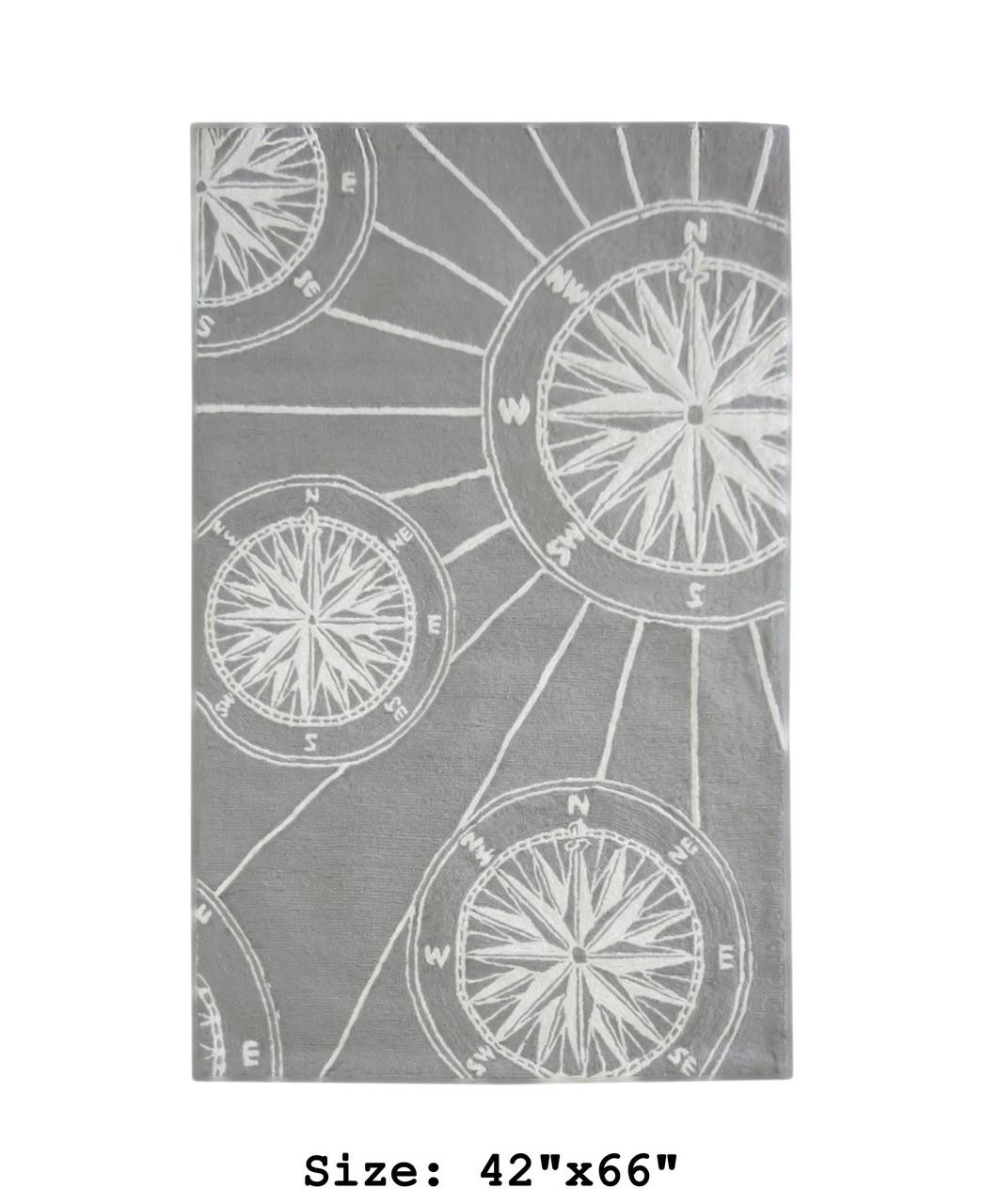 "Frontporch Compass Rose Indoor/Outdoor Rug - Medium Rectangle - 42""x66"""