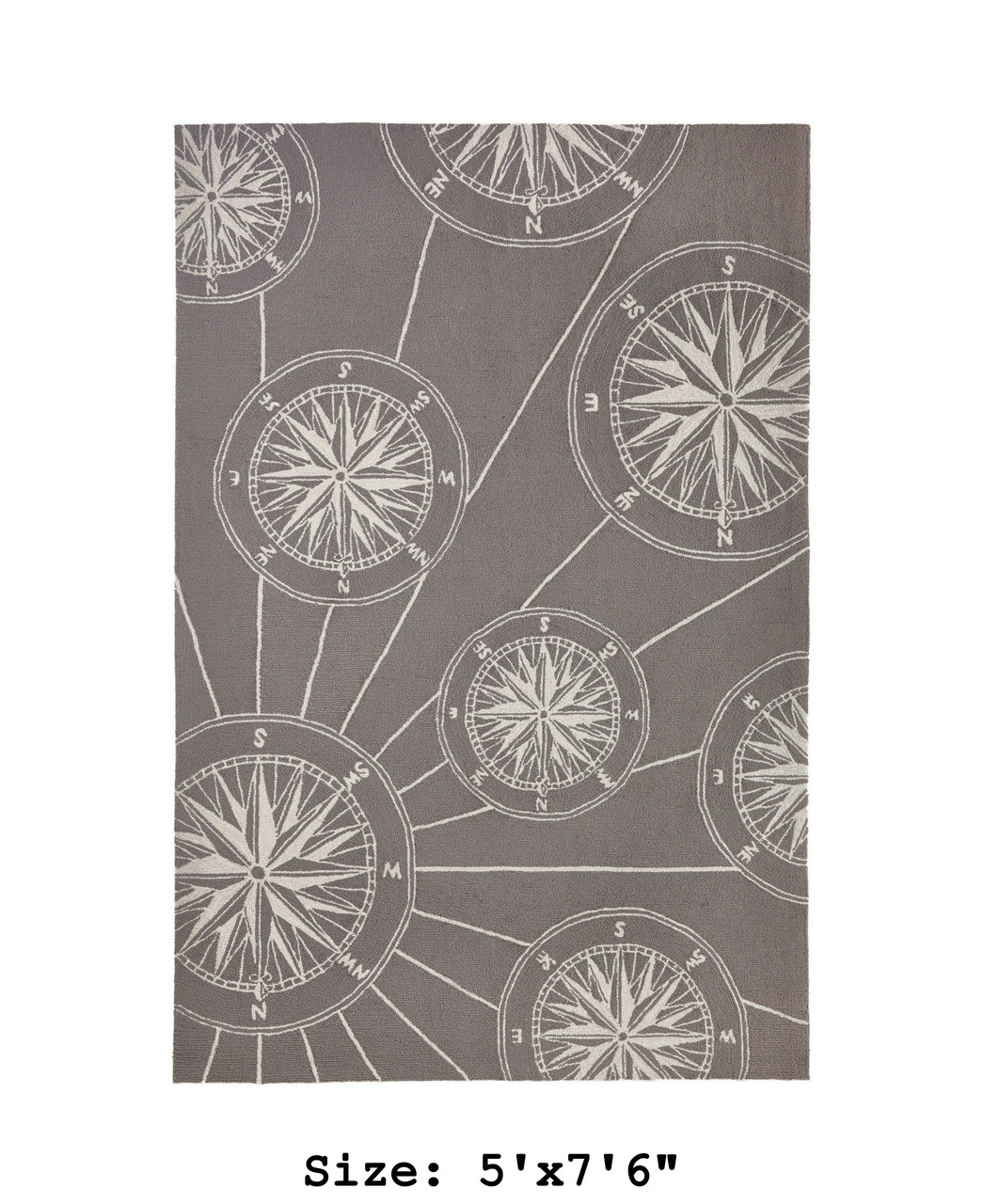 """Frontporch Compass Rose Indoor/Outdoor Rug - Large Rectangle - 5'x7'6"""""""