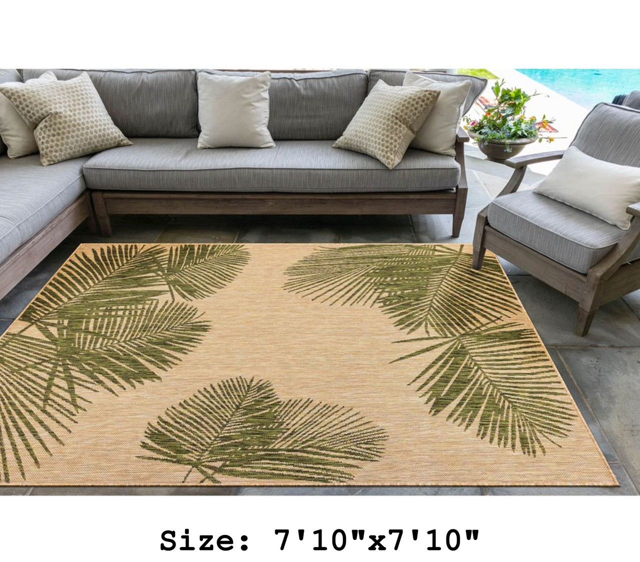 Green  Carmel Palm Leaf Indoor/Outdoor Rug - Square