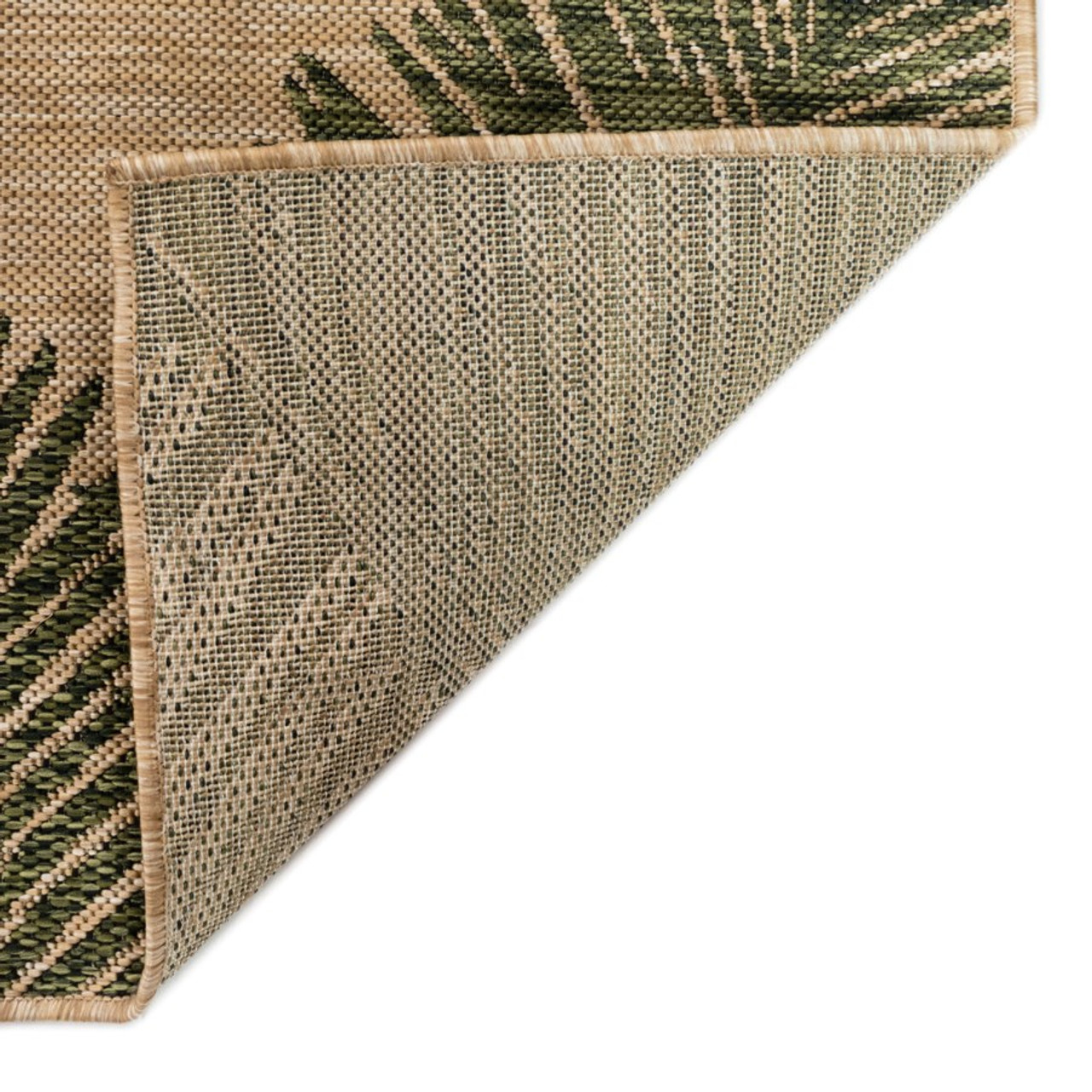 Green  Carmel Palm Leaf Indoor/Outdoor Rug - Backing