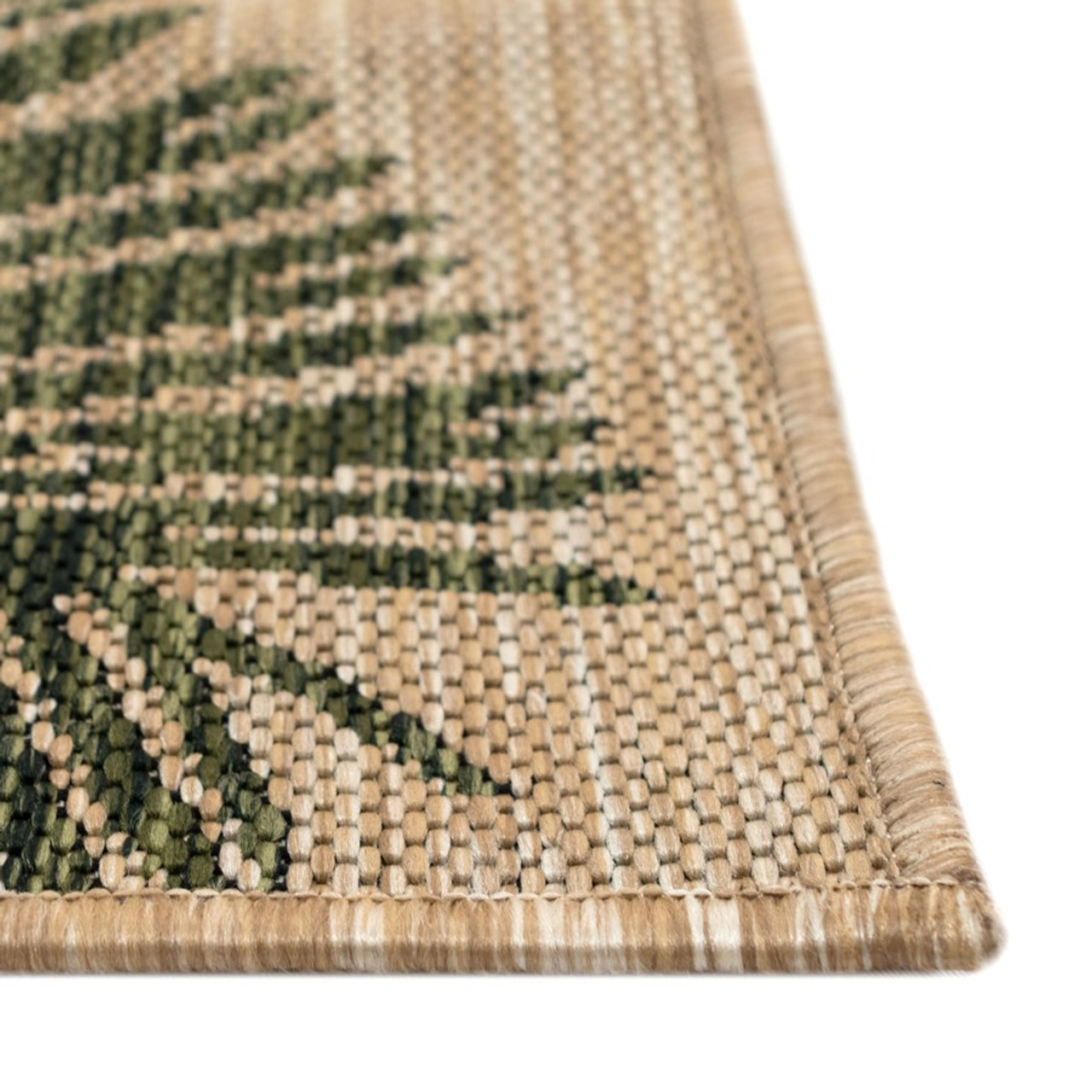 Green  Carmel Palm Leaf Indoor/Outdoor Rug - Pile
