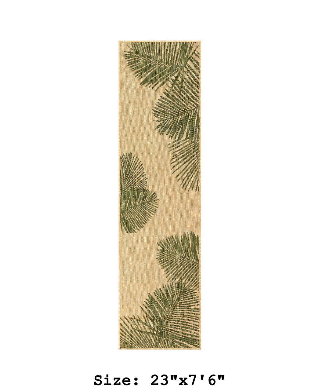 Green  Carmel Palm Leaf Indoor/Outdoor Rug - Runner