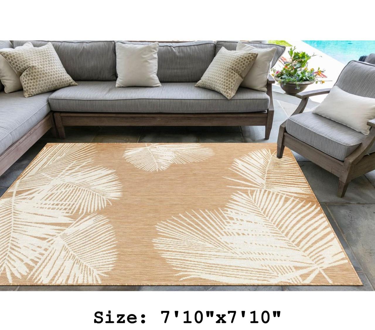 Sand Carmel Palm Leaf Indoor/Outdoor Rug -  Square