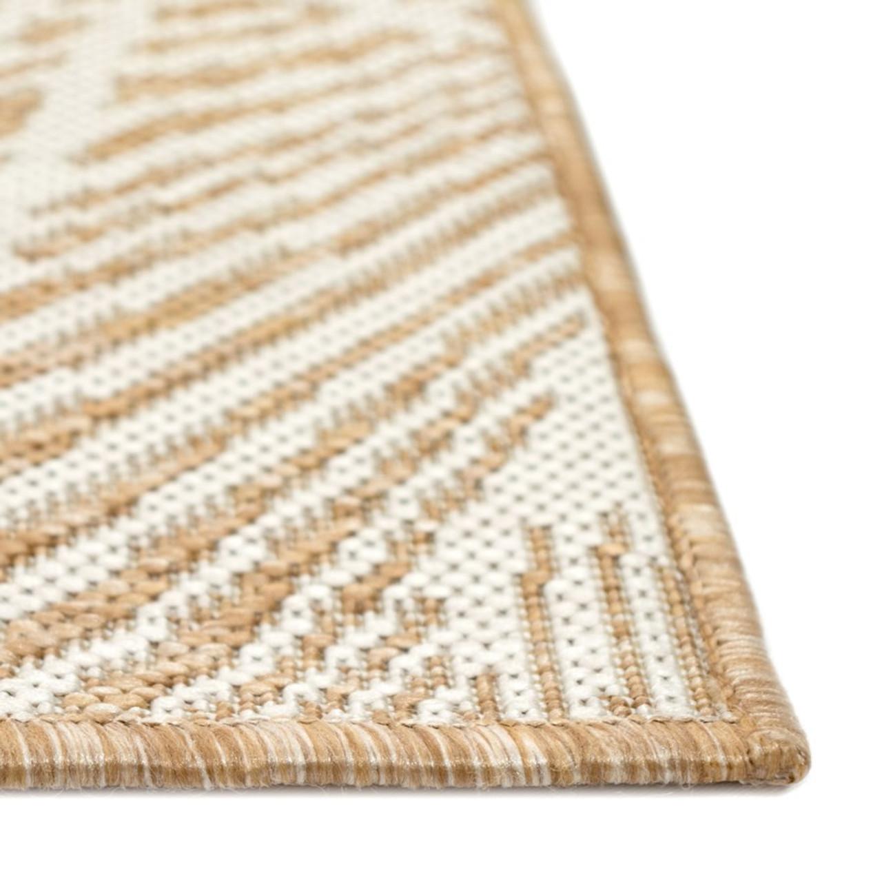 Sand Carmel Palm Leaf Indoor/Outdoor Rug - Pile