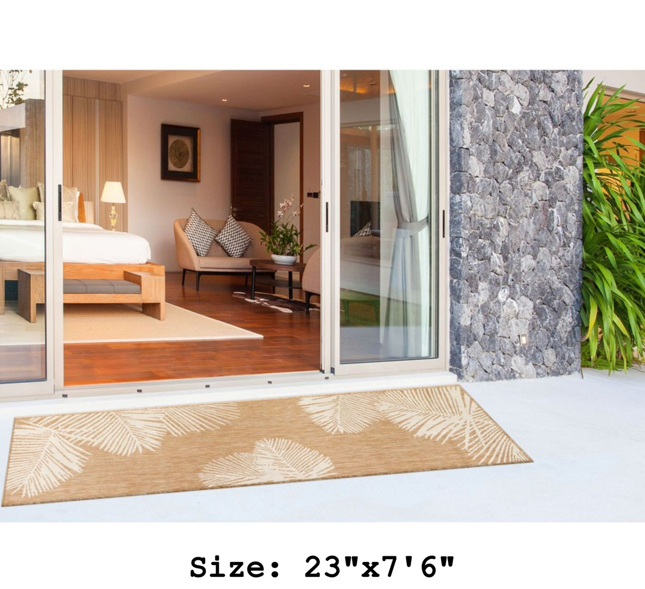 Sand Carmel Palm Leaf Indoor/Outdoor Rug - Runner Lifestyle