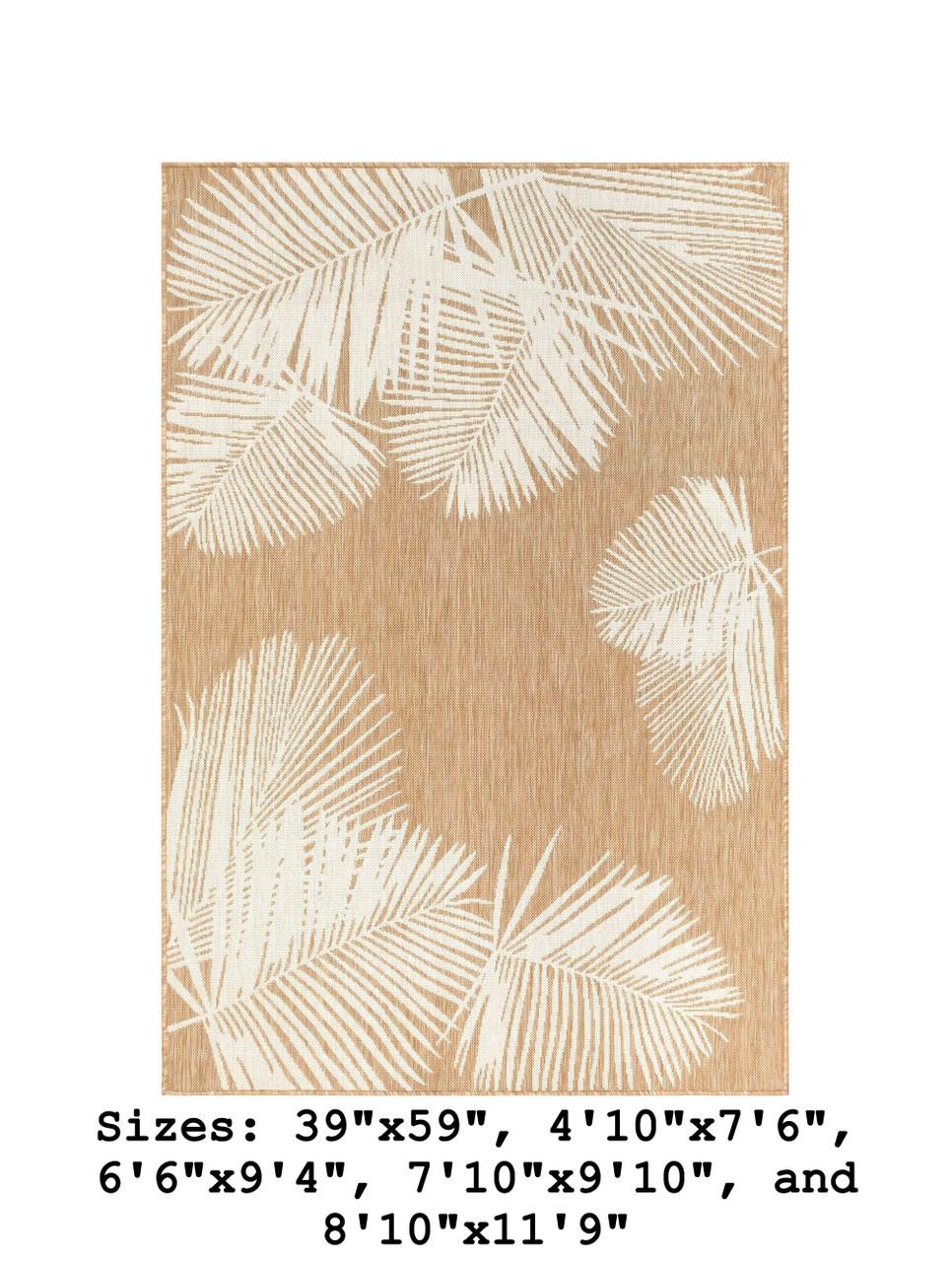 Sand Carmel Palm Leaf Indoor/Outdoor Rug - Rectangle