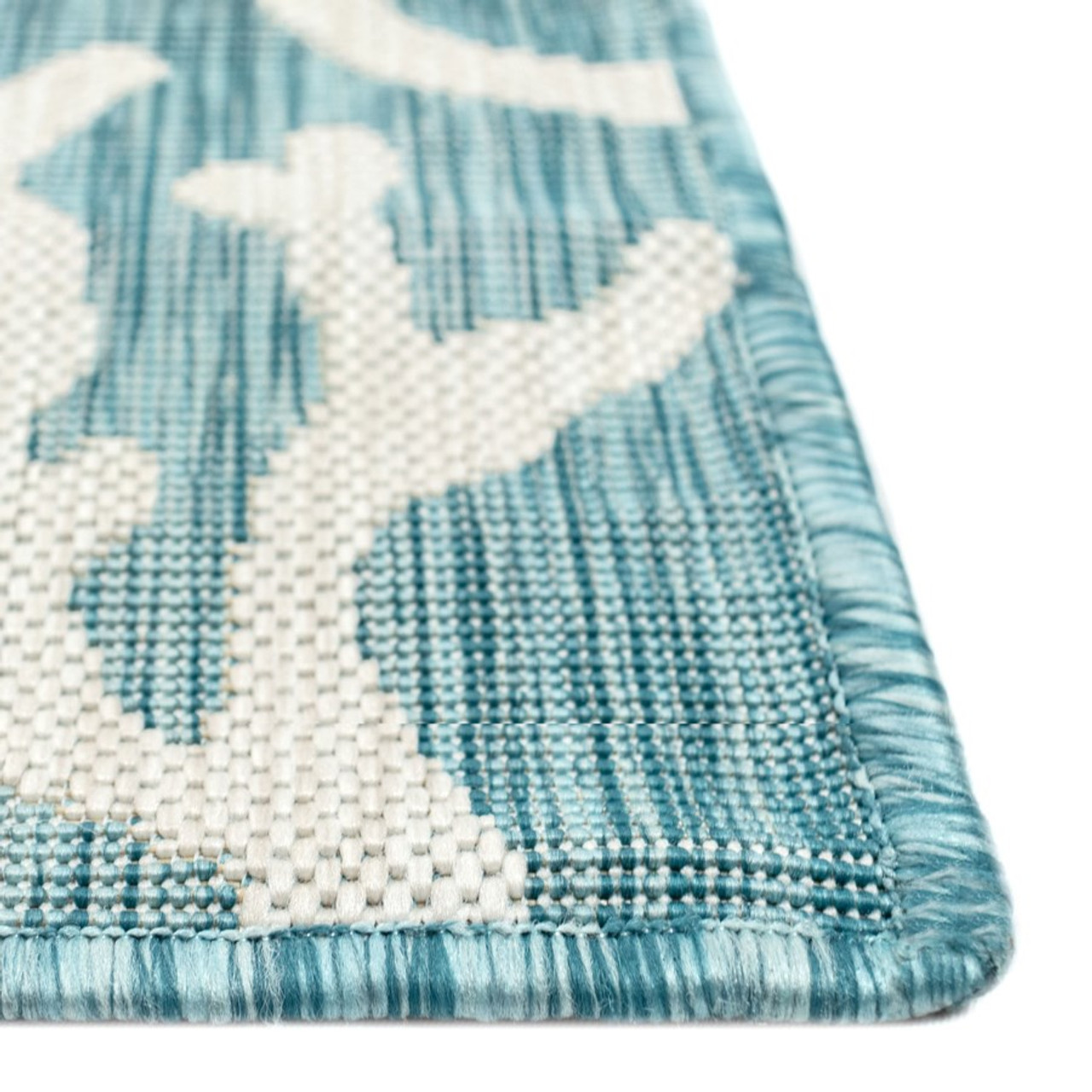 Aqua Carmel Coral Border Indoor/Outdoor Rug - Pile