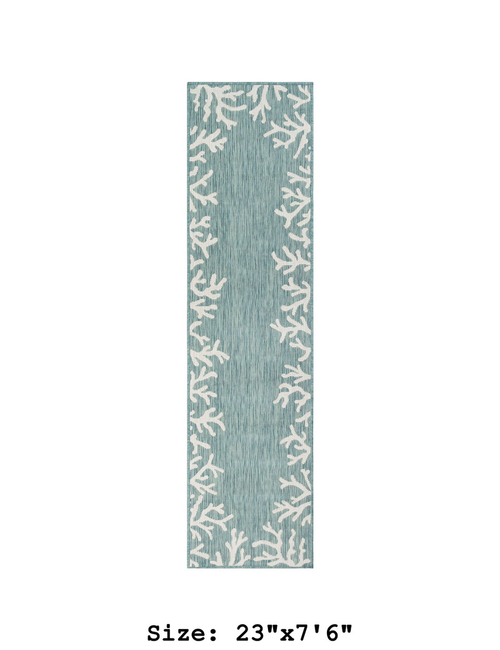Aqua Carmel Coral Border Indoor/Outdoor Rug - Runner