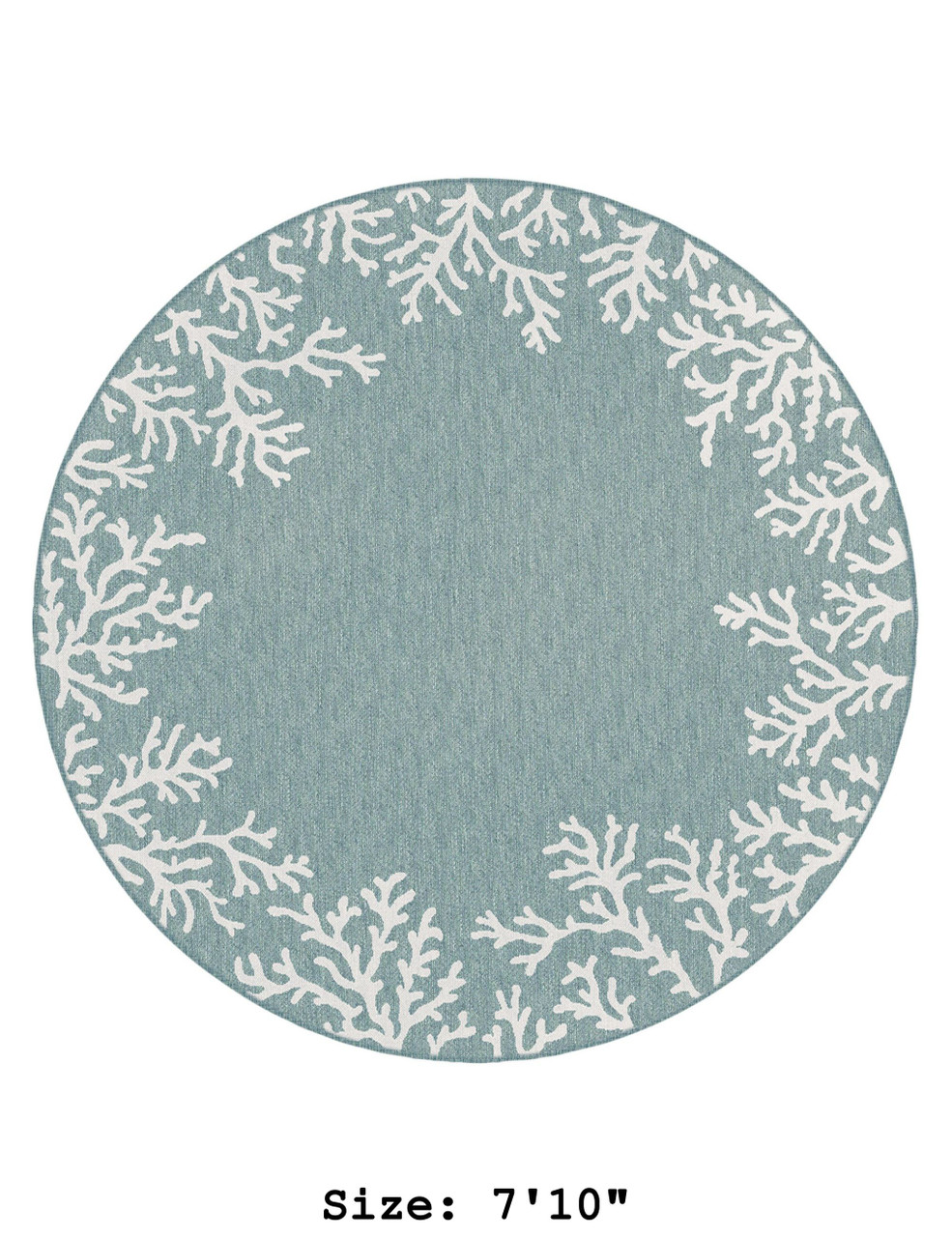Aqua Carmel Coral Border Indoor/Outdoor Rug - Round