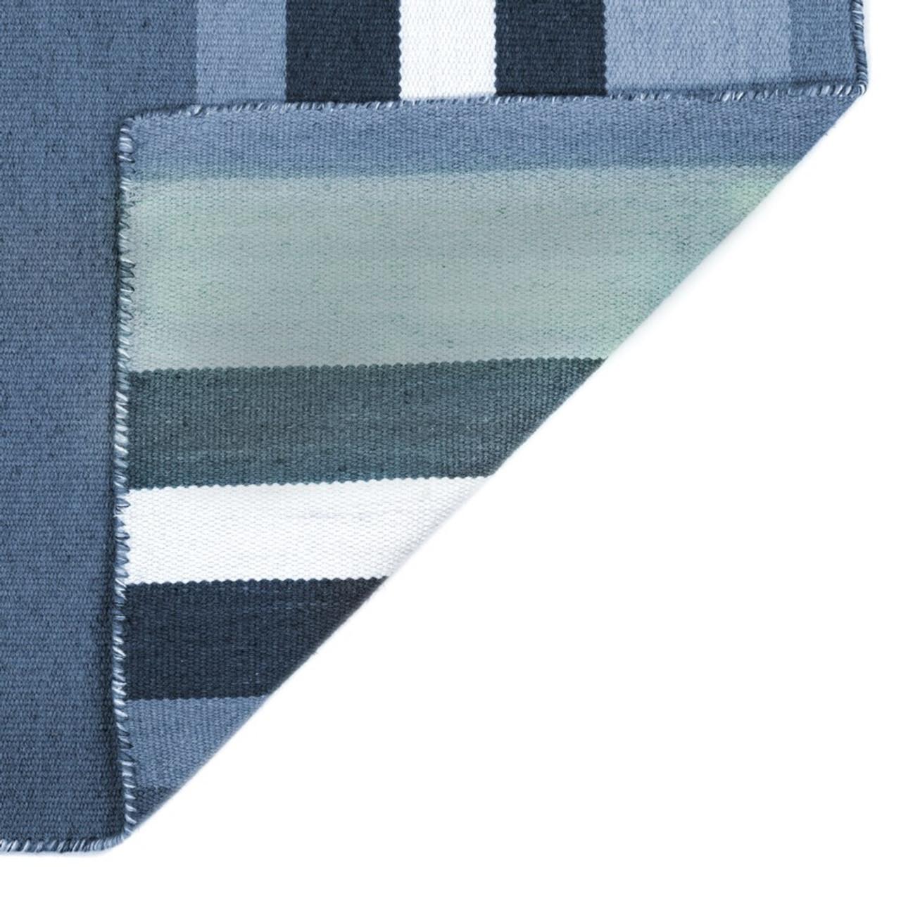 Blue Tribeca Stripes Indoor/Outdoor Rug - Back