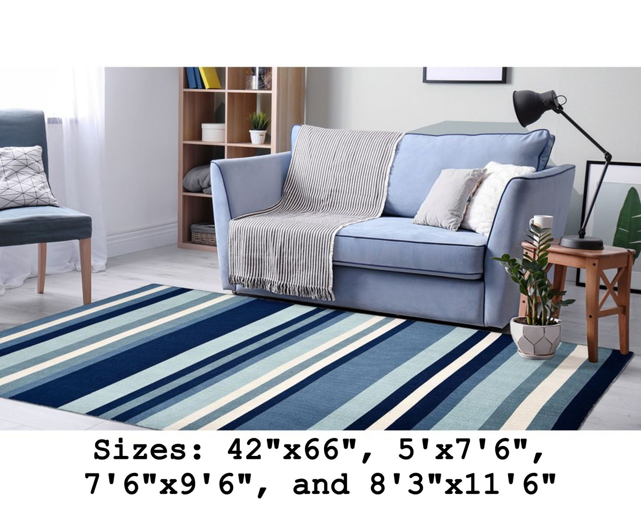 Blue Tribeca Stripes Indoor/Outdoor Rug - Large Rectangle Lifestyle