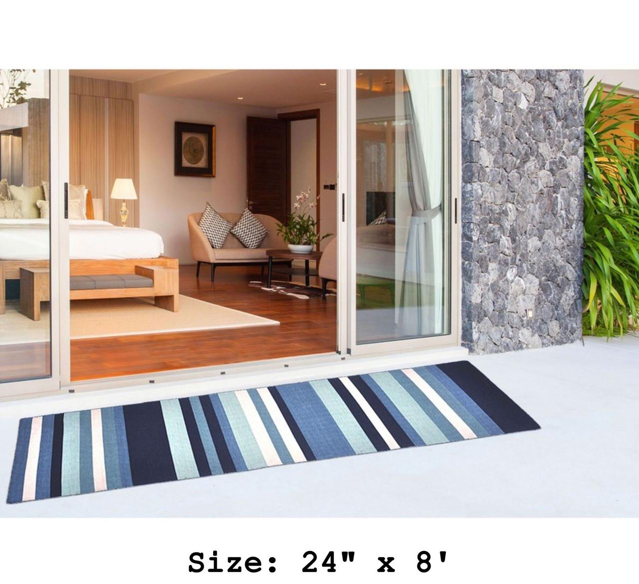 Blue Tribeca Stripes Indoor/Outdoor Rug - Runner Lifestyle