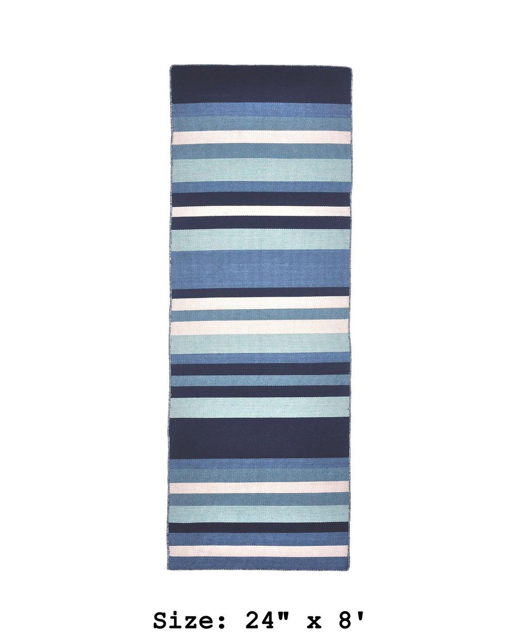 Blue Tribeca Stripes Indoor/Outdoor Rug - Runner