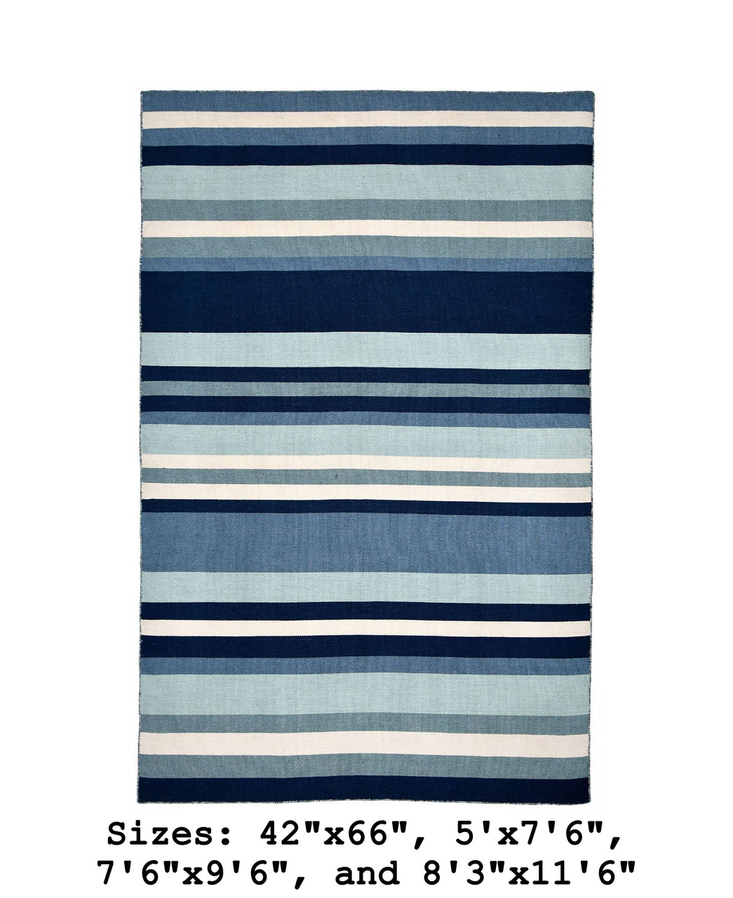 Blue Tribeca Stripes Indoor/Outdoor Rug - Large Rectangle