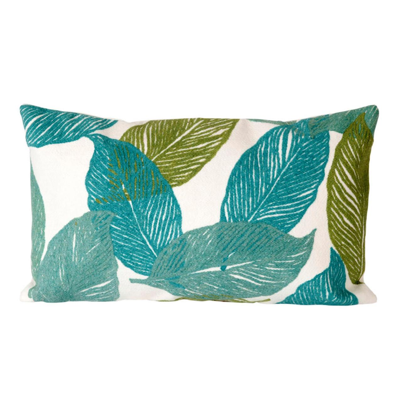 Visions Aqua Mystic Leaf Indoor/Outdoor Throw Pillow -  Lumbar Rectangle