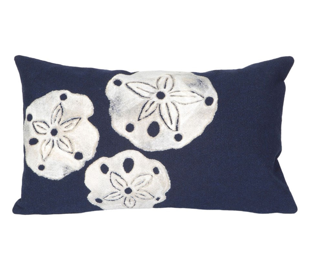 Visions Navy Sand Dollar Indoor/Outdoor Throw Pillow - Rectangle