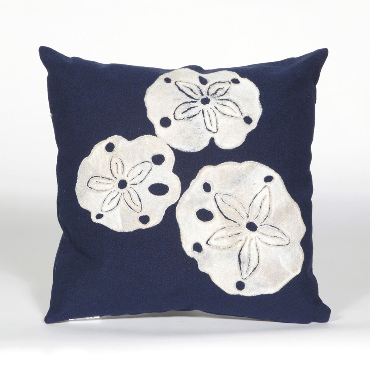 Visions Navy Sand Dollar Indoor/Outdoor Throw Pillow - Square