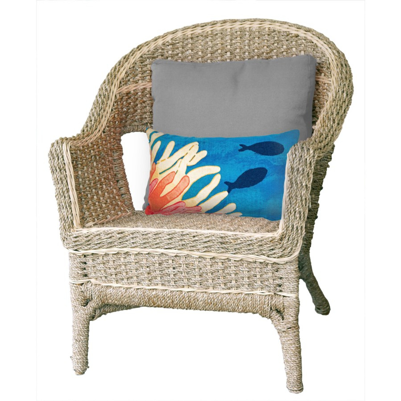 Visions Reef & Fish Indoor/Outdoor Throw Pillow - Rectangle Lifestyle