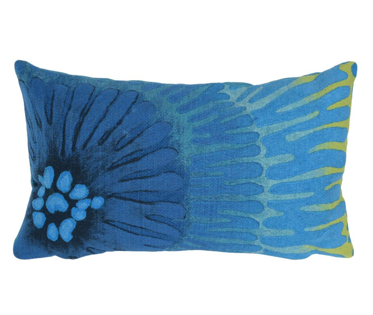 Visions Blue Cirque Caribe Indoor/Outdoor Throw Pillow  - Rectangle