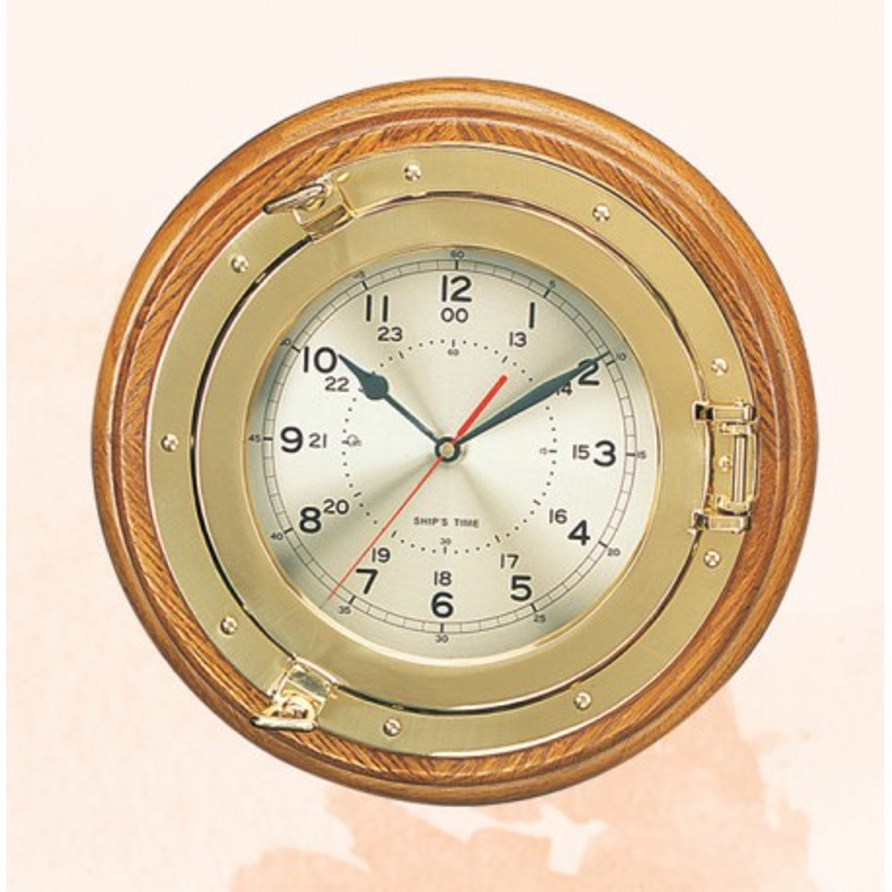 """(108 (L))  13.25"""" Deluxe Polished Brass Porthole Clock with Wooden Base"""