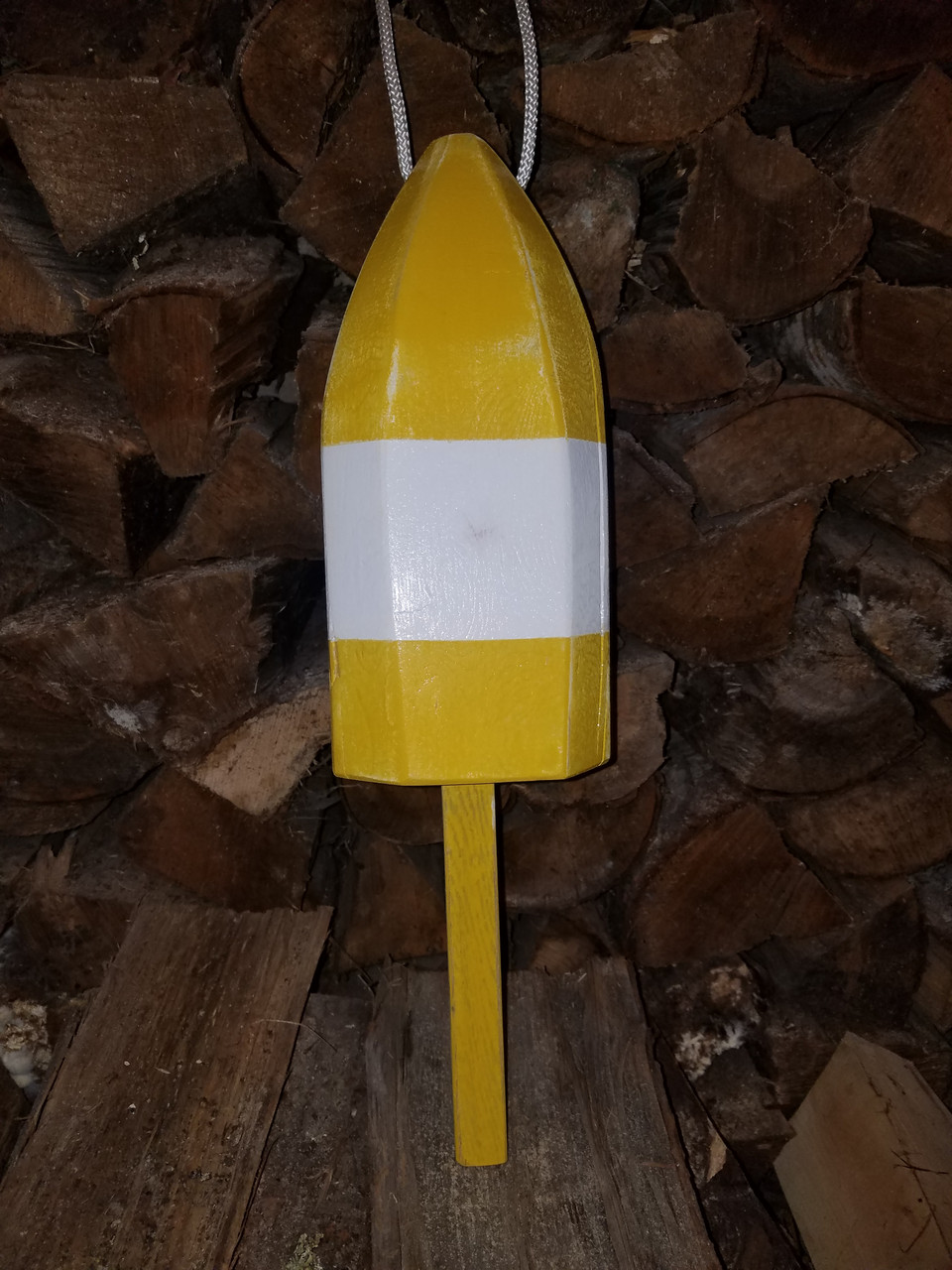 "Wooden Lobster Buoy - 21"" - Yellow with White Band"