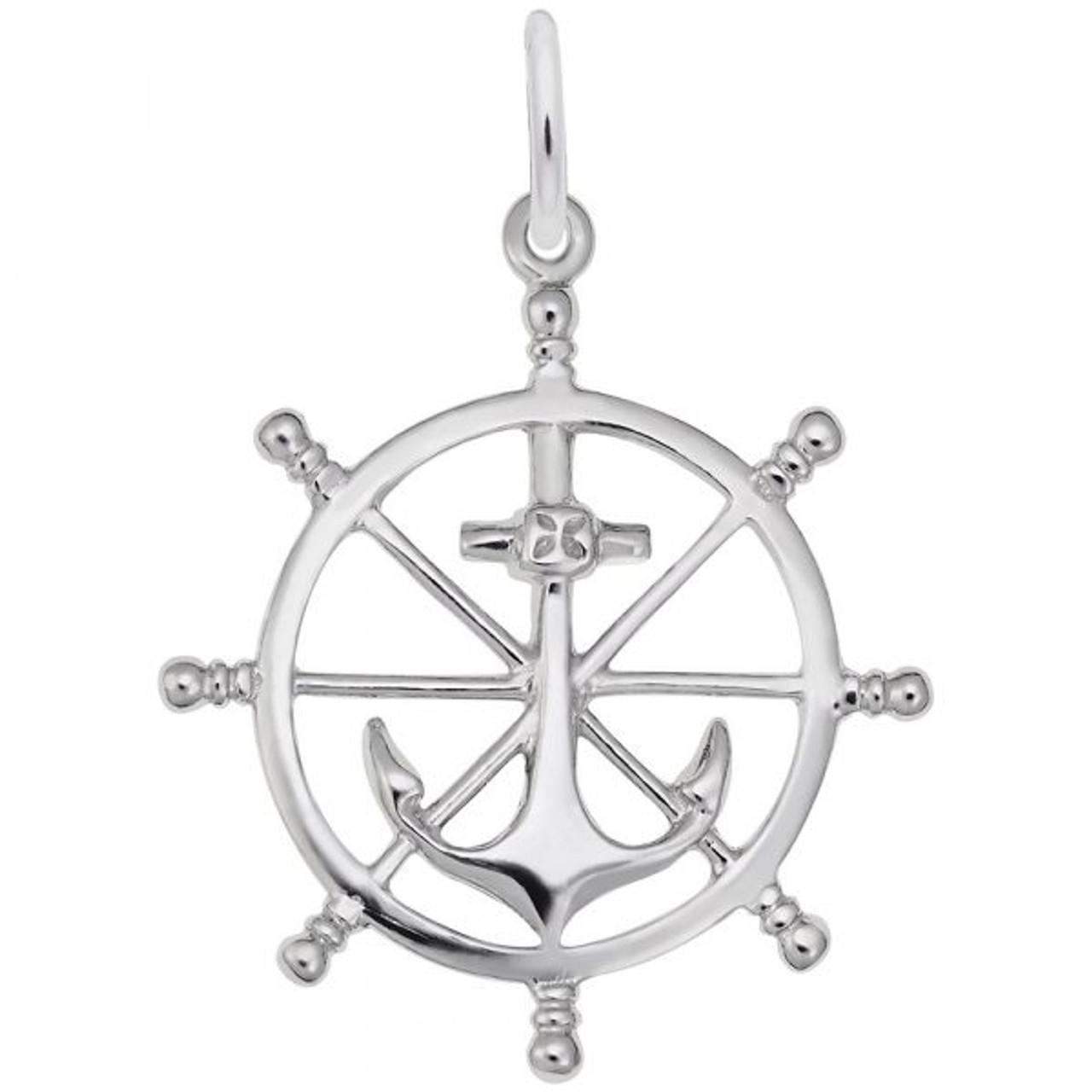 Anchor and Ship Wheel Charm - Sterling Silver and 14k White Gold