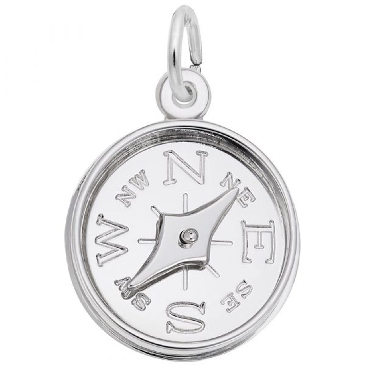 Compass with Needle Charm - Sterling Silver and 14k White Gold