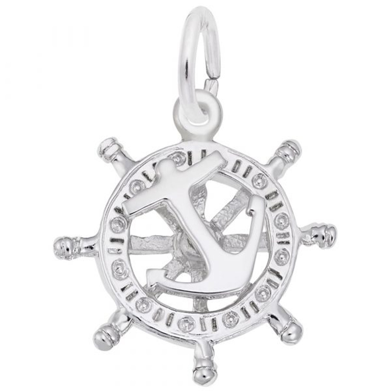 Anchor and Ships Wheel Charm - Sterling Silver and 14k White Gold