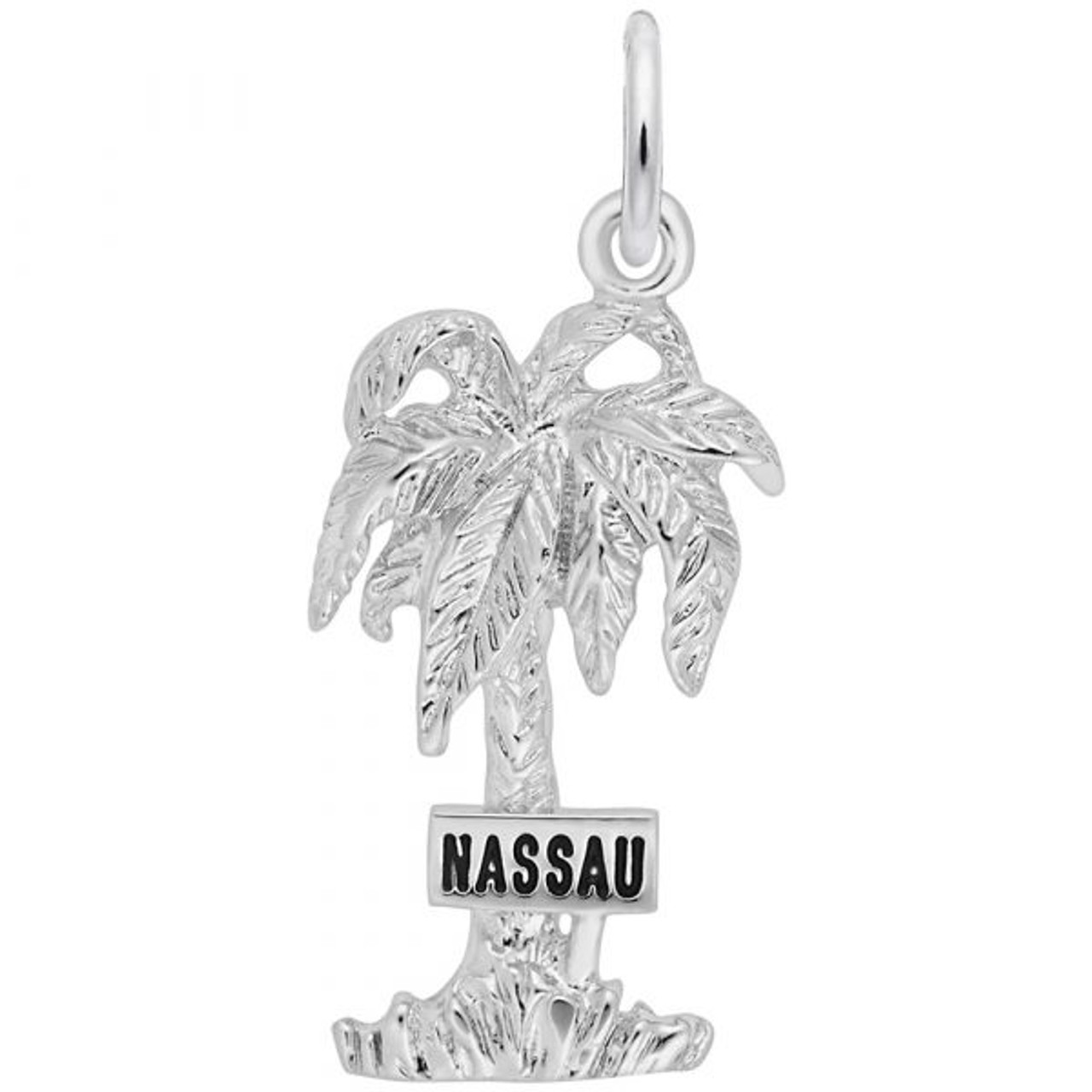 """""""Nassau"""" Palm Tree Charm - Sterling Silver and 14k White Gold"""
